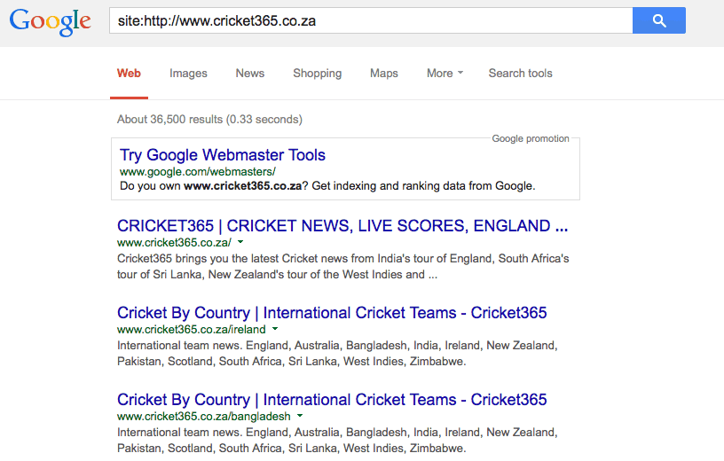 cricket365 indexed pages
