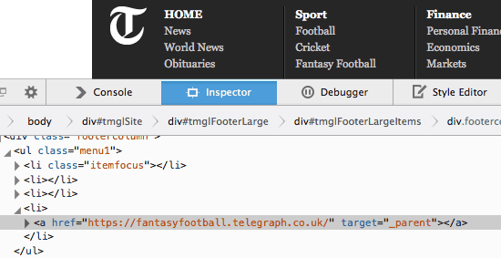 telegraph footer links