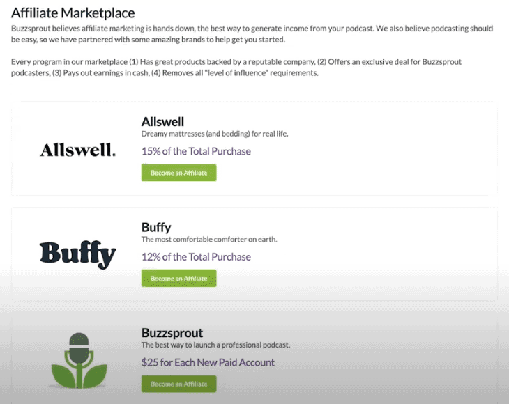 Buzzsprout Affiliate Marketplace