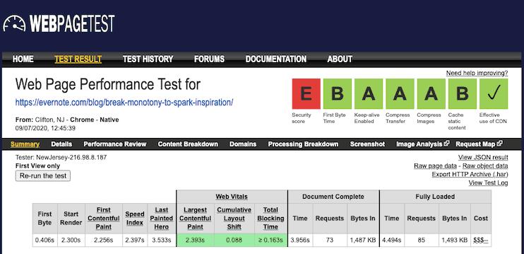 Evernote Blog Core Web Vitals Webpagetest