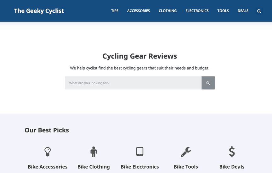 Geeky Cyclist Generatepress Premium Example