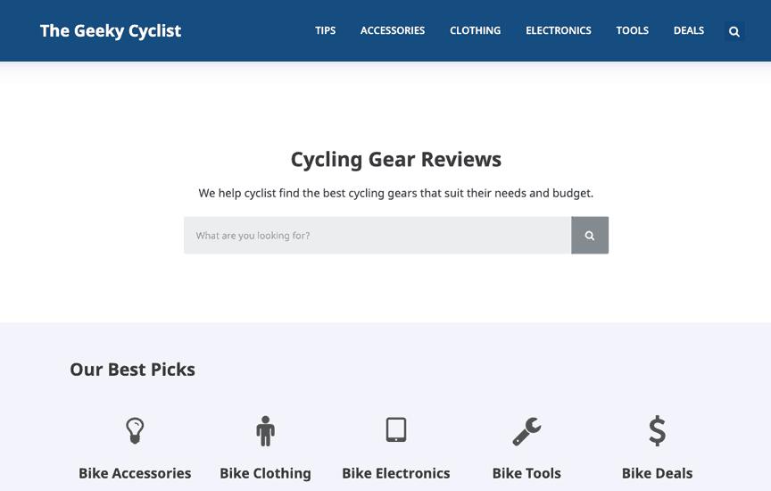 Geeky Cyclist Generatepress Premium Example