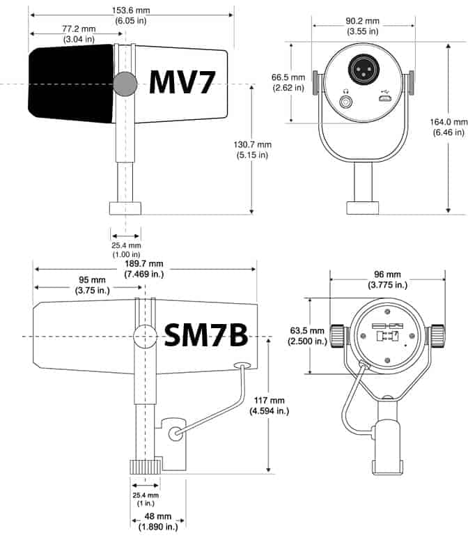 Shure Sm7b Vs Mv7 Dimensions