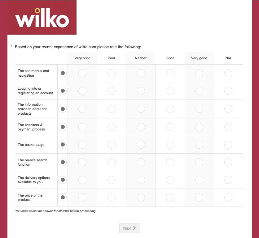 Wilko Csat Survey Example5