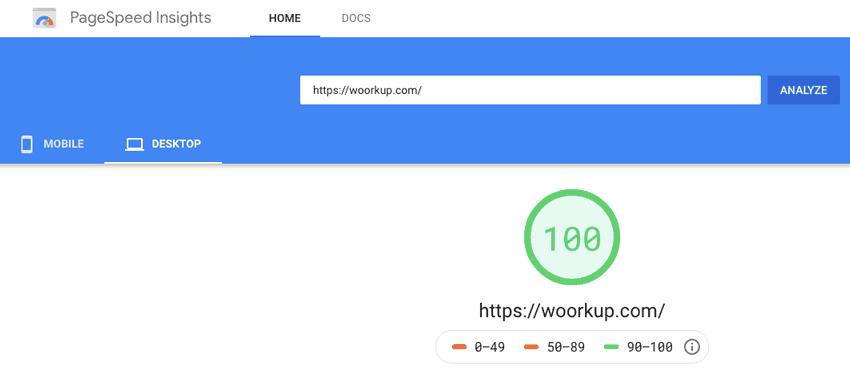 Woorkup Generatepress WordPress Speed Test