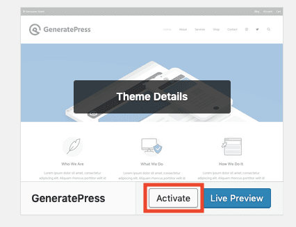 Activate Generatepress Theme
