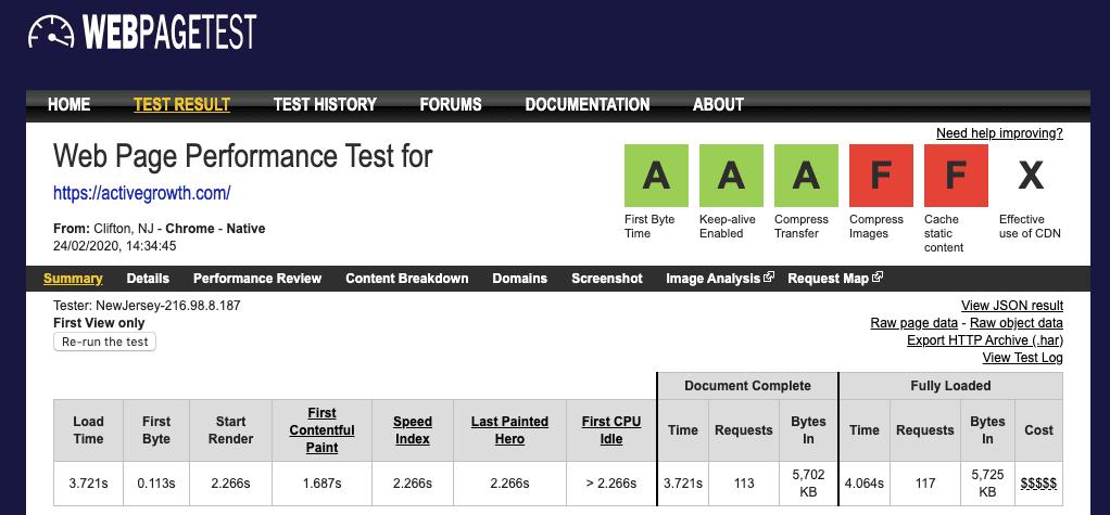 Activegrowth Homepage Speed