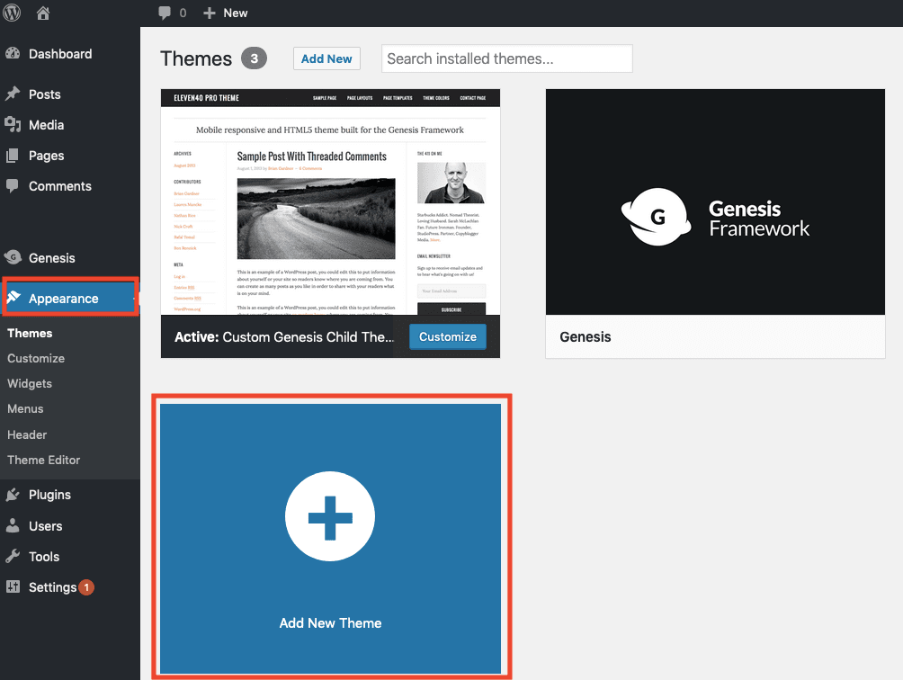 Add New Theme WordPress