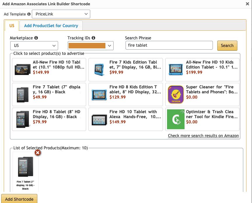 Adding Amazon Shortcode