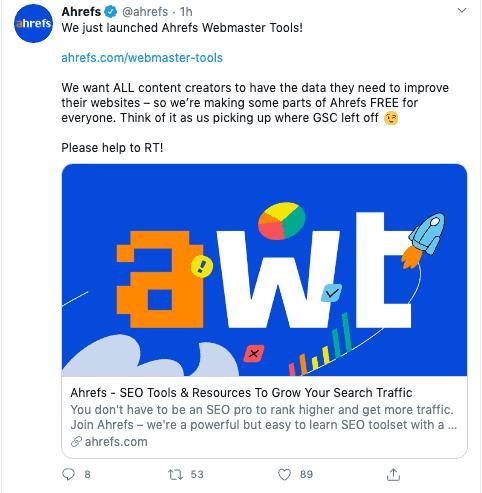 Ahrefs Webmaster Tools Announcement