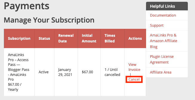 Amalinks Pro Cancel Subscription