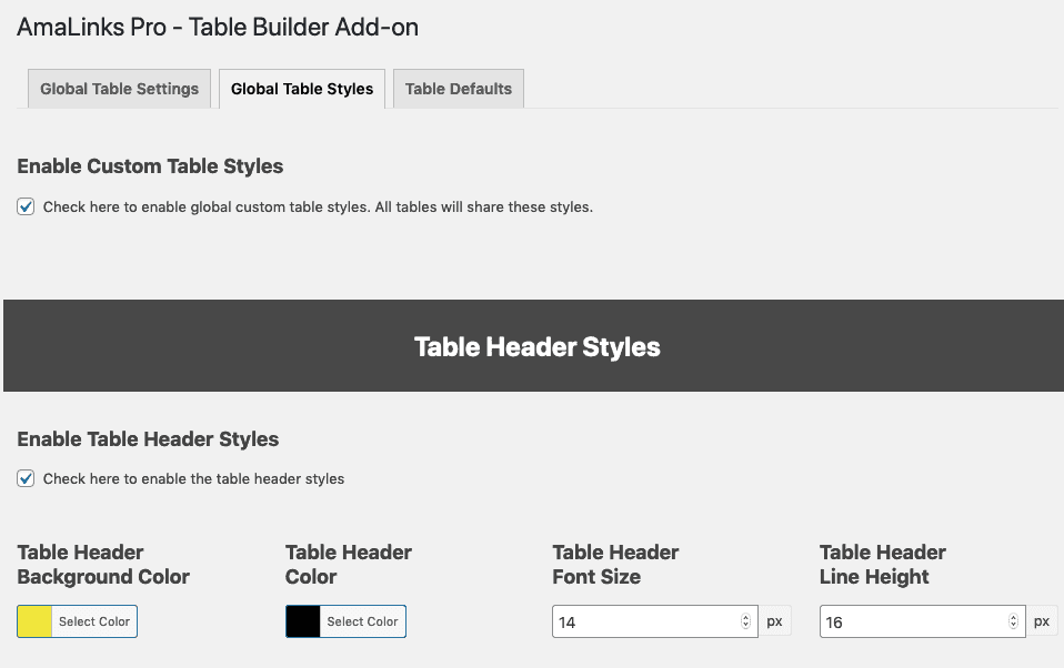 Amalinks Pro Change Table Style