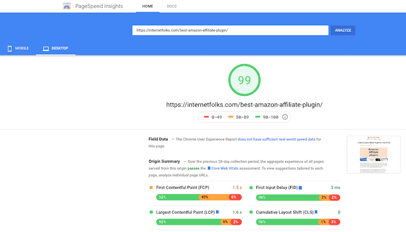 Amazon Affiliate Plugin Post Speed Test Desktop