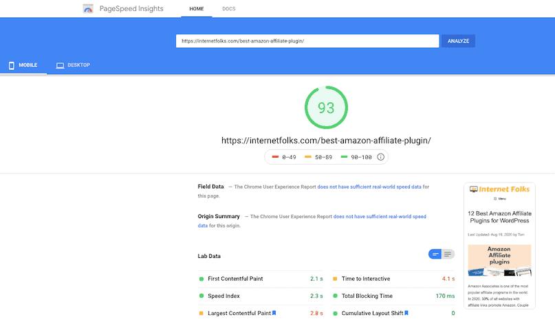 Amazon Affiliate Plugin Post Speed Test Mobile
