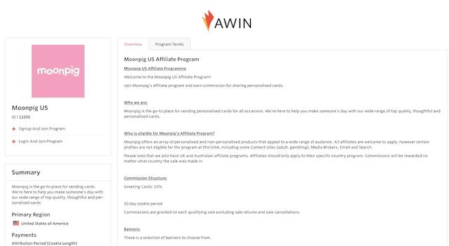 Awin Moonpig Affiliate Program