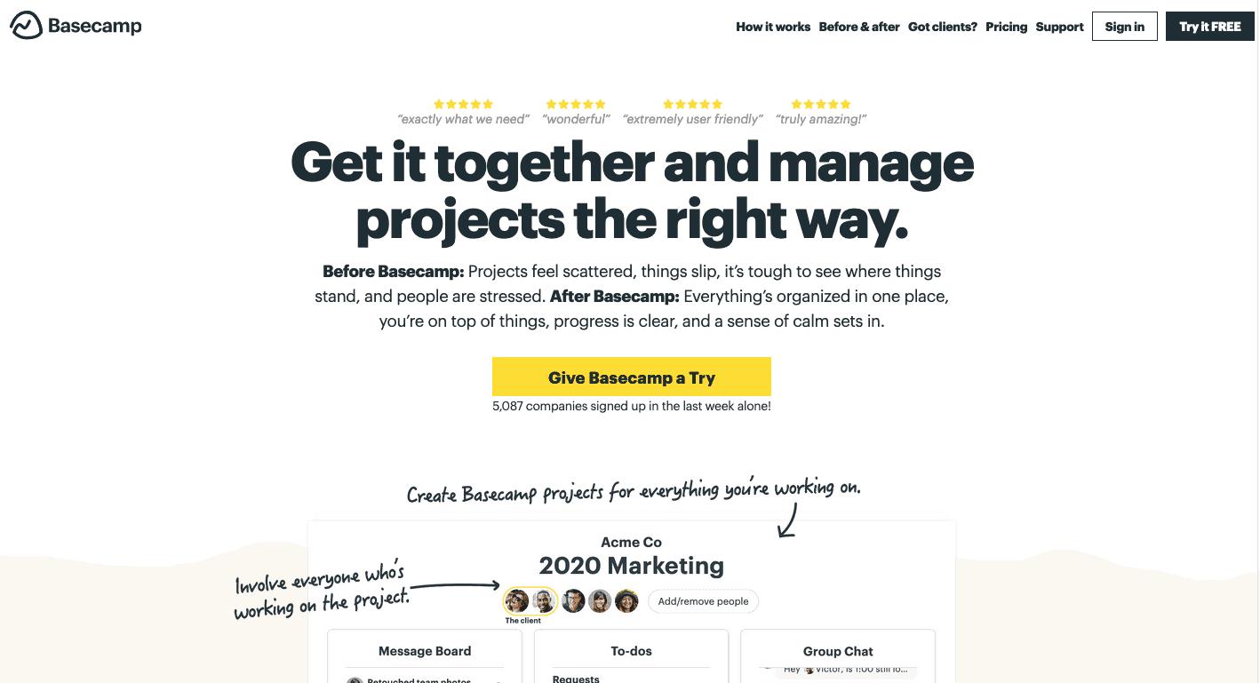 Basecamp 2020 Homepage Design