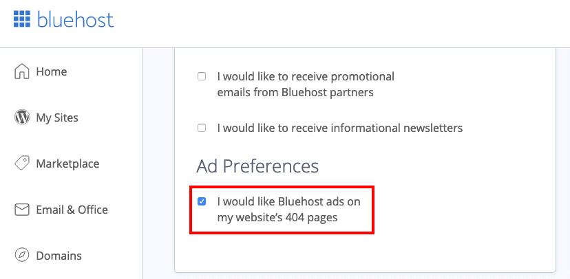 Bluehost Ad Preferences