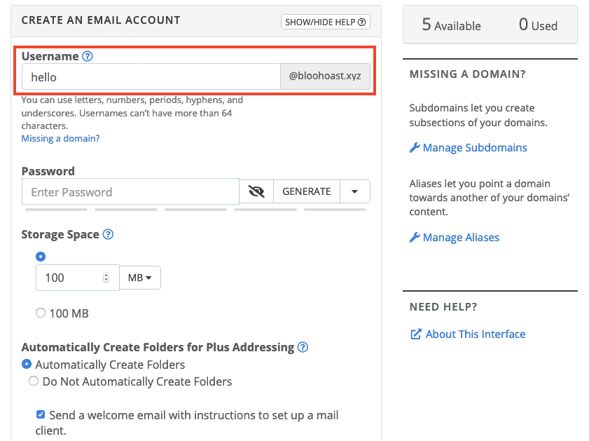 Bluehost Add New Email Address