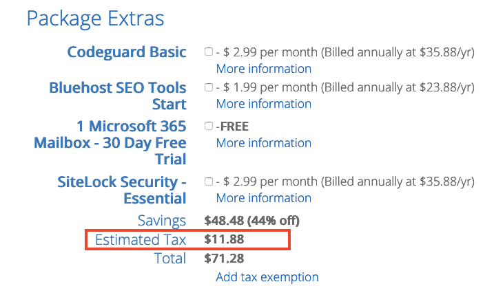 Bluehost Added Tax