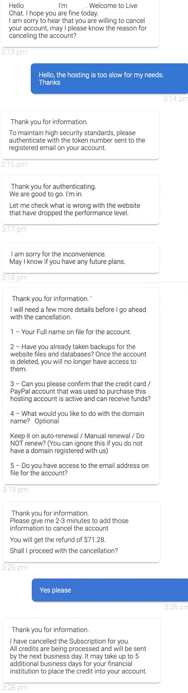 Bluehost Cancel Account Support Chat