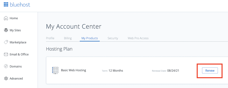 Bluehost Cancel Auto Renewal Step1