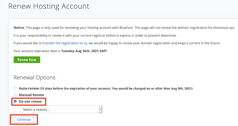 Bluehost Cancel Auto Renewal Step2
