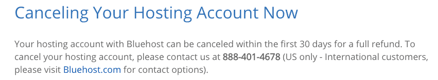Bluehost Cancel Hosting Account Within 30 Days
