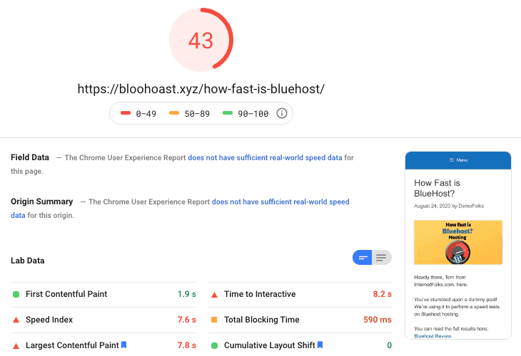 Bluehost Cloudflare Pagespooed Insights Mobile