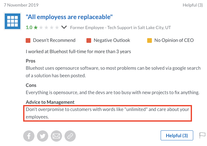 Bluehost Glassdoor Support Review