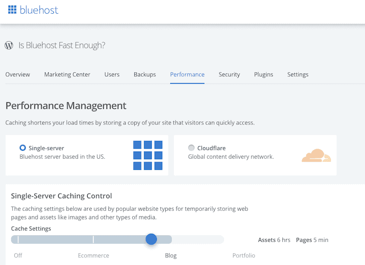 Bluehost Performance Settings