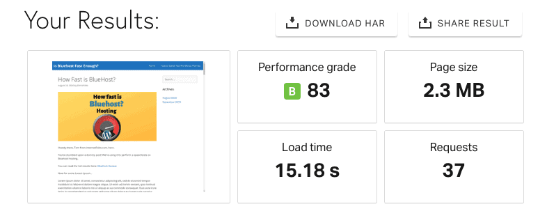 Bluehost Pingdom Speed Test