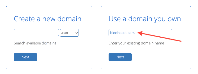 Bluehost Use A Domain You Own