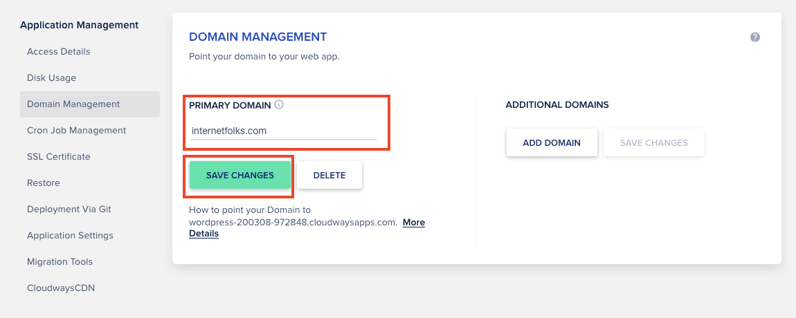 Cloudways Add Domain Name