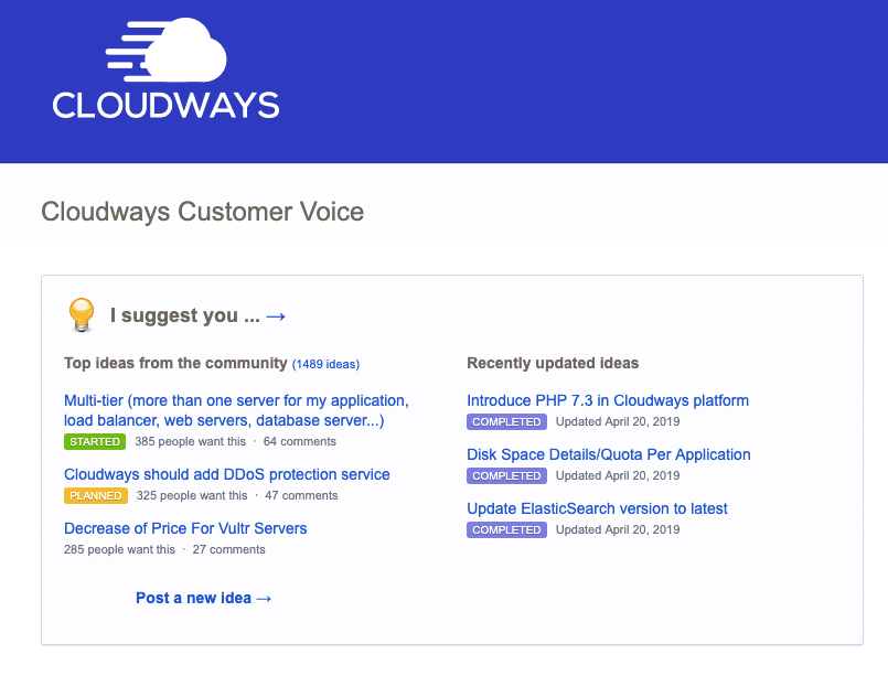 Cloudways Feedback