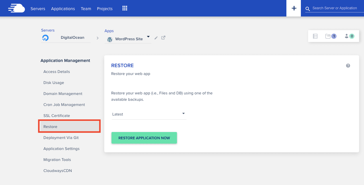 Cloudways Restore Backup