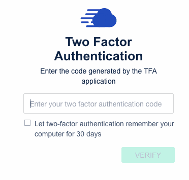 Cloudways Two Factor Login Security