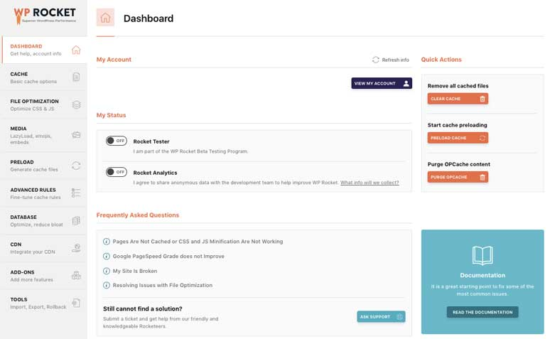 dashboard-wp-rocket