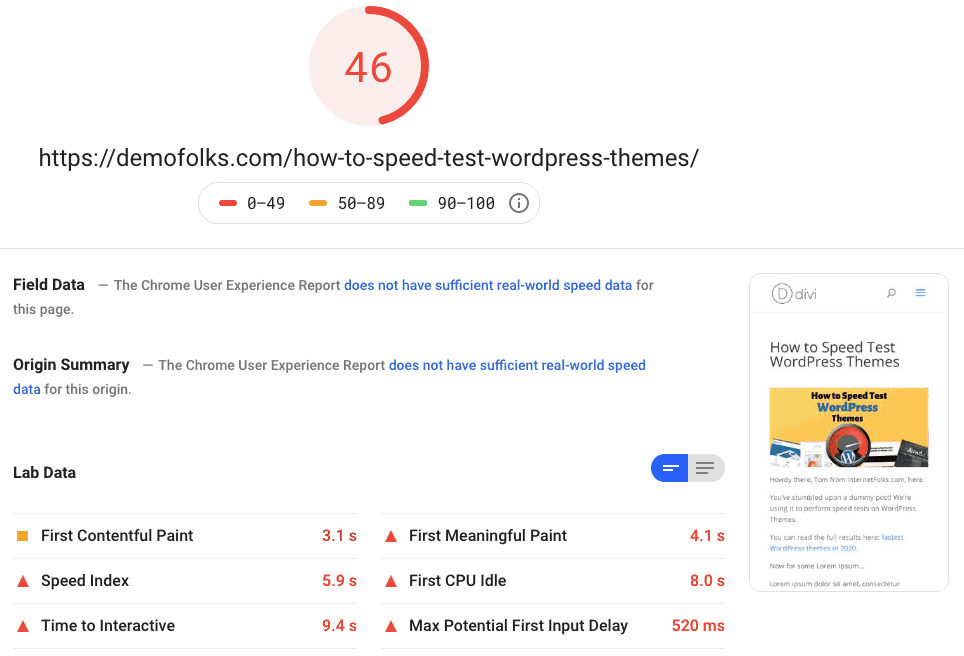 Divi Pagespeed Mobile