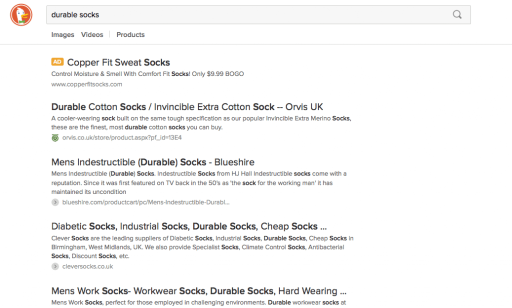 durable socks duck ads
