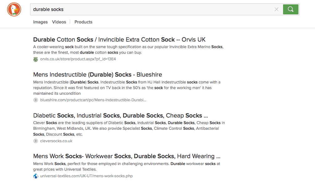 durable socks duckduckgo