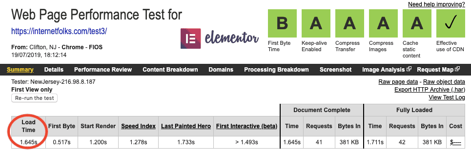 Elementor Page Speed