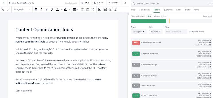 Frase Content Optimization Editor