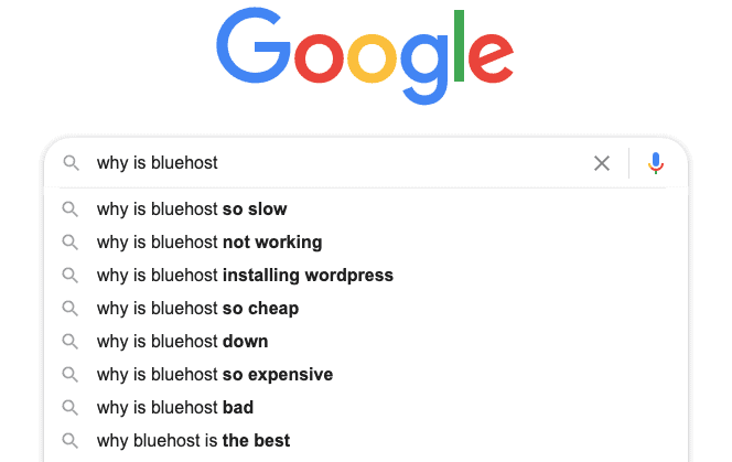 Google Why Is Bluehost