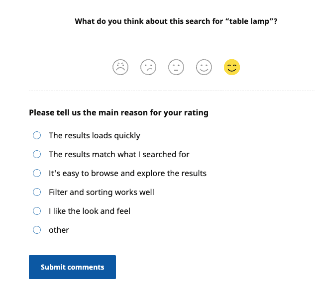 Ikea On Page Survey Question Example Follow Up 2