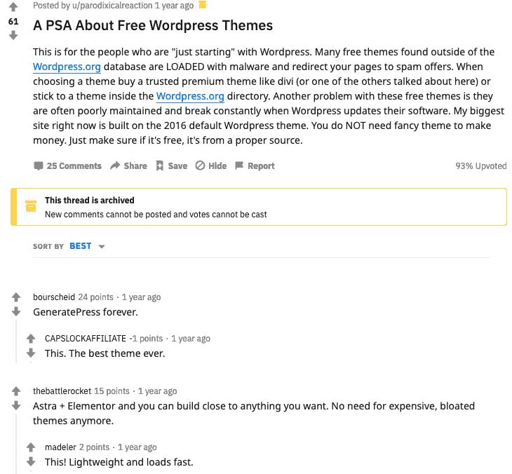 Juststart Subreddit Free WordPress Themes