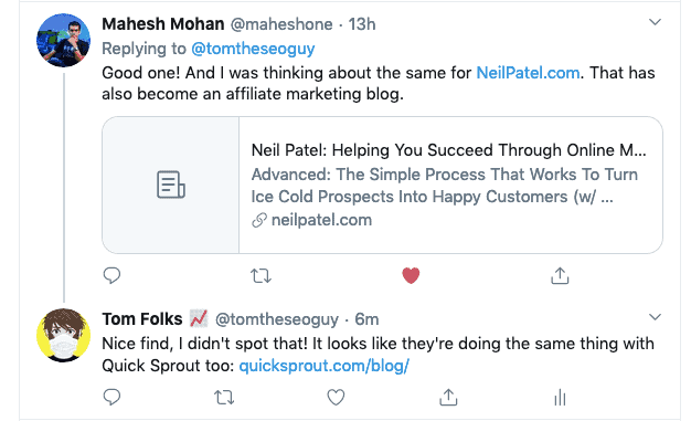 Mahesh Tweet Neil Patel Blog