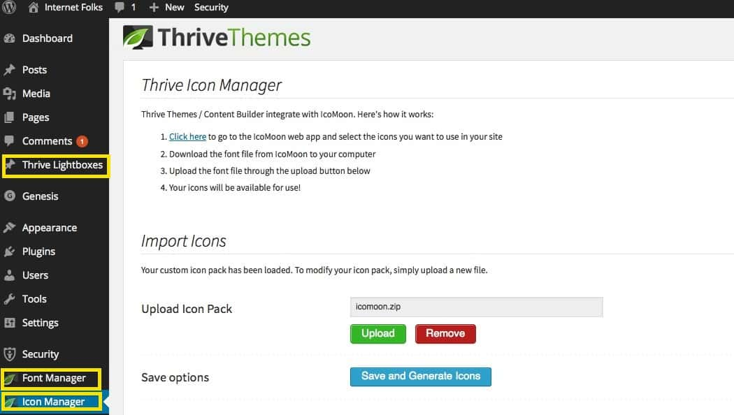 thrive content builder menus
