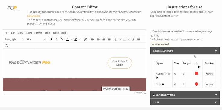 Page Optimizer Pro Editor