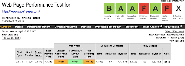 Pagefreezer Speed Test