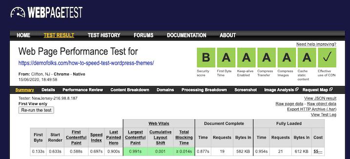 Runcloud Webpagetest